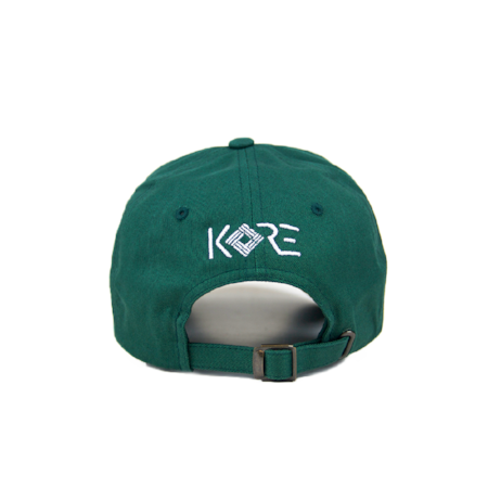 Back view of worldwide embroidered on a forest green dad hat.