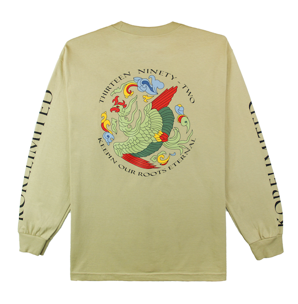 Back view of sandstone, or tan, long sleeve with Goryeo print on the back. KORE Limited - Keepin Our Roots Eternal