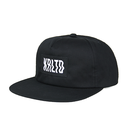 Front view of black KRLTD embroidered on unstructured 5-panel snapback.