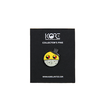 Front of Smiles collector's pin. KORE - Keepin Our Roots Eternal