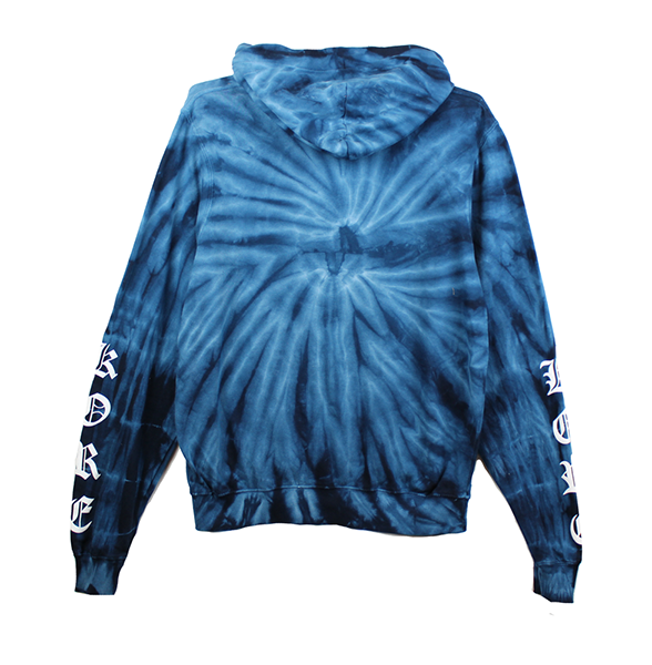 Front view of navy tie dye pullover hoodie showing white yin and yang chest print and white KORE sleeve prints on both sides.