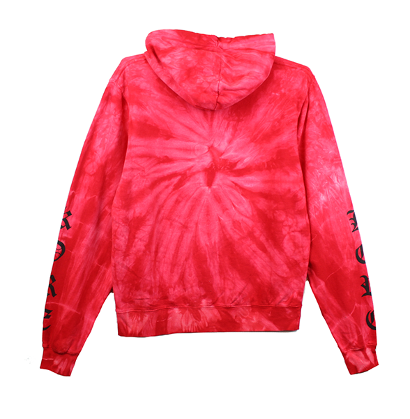 Front view of red tie dye pullover hoodie showing black yin and yang chest print and black KORE sleeve prints on both sides.