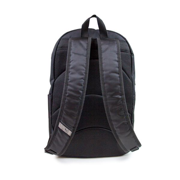 Back view of black PUMA backpack. KORE Limited - Keepin Our Roots Eternal