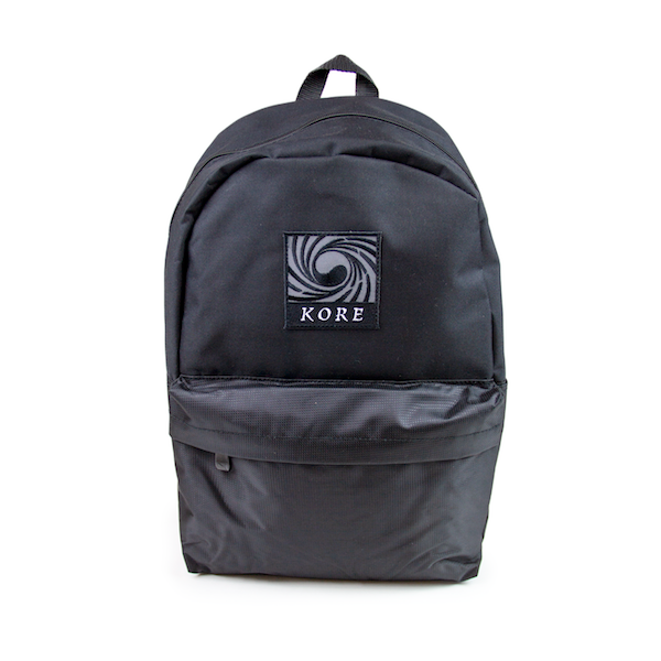 Front view of black Puma backpack with twist Korean Flag KORE patch at the top center. KORE Limited - Keepin Our Roots Eternal