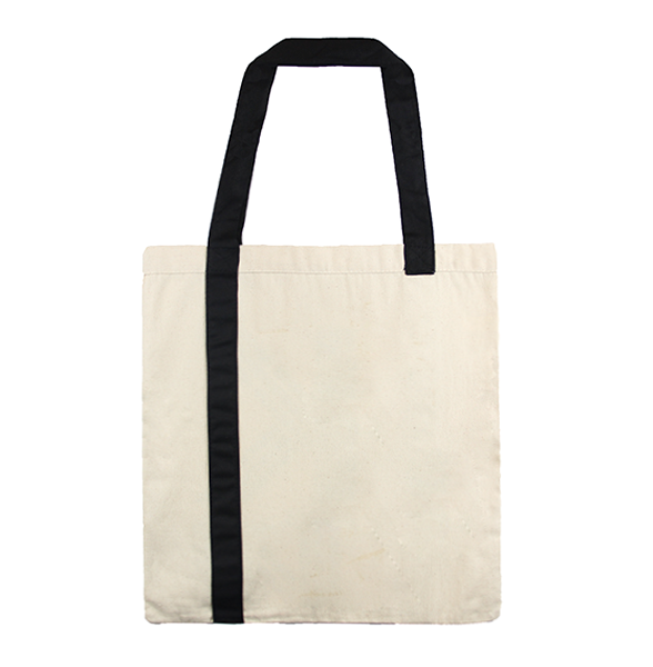 Front view of KORE canvas tote bag in natural color with a black handle strap. This image shows our a large print of our trigram K logo along with the website www.korelimited.com.