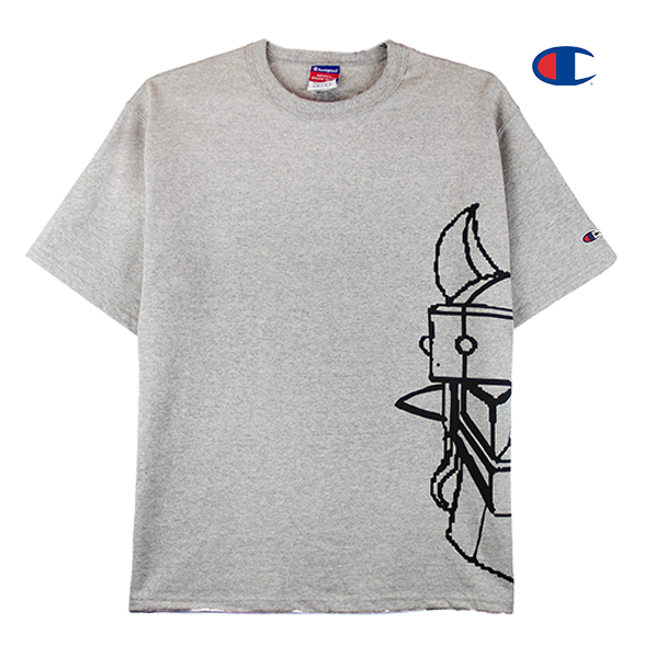 Front view of a heather grey Champion jersey tee with half of the Taekwon V head printed.