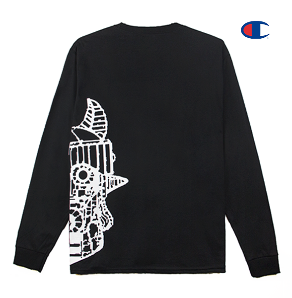 Front view of a black Champion jersey long sleeve with half of the Taekwon V head printed.