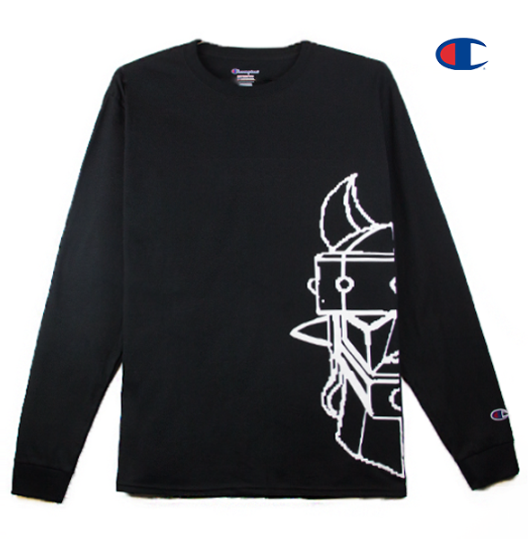 Front view of a black champion long sleeve with half of the Taekwon V head printed.