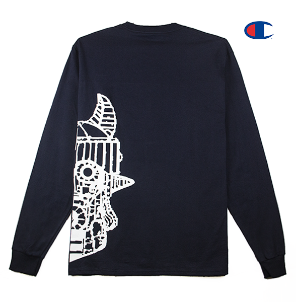 Back view of a navy Champion jersey long sleeve with half of the Taekwon V head printed.