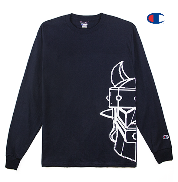 Front view of a navy Champion jersey long sleeve with half of the Taekwon V head printed.