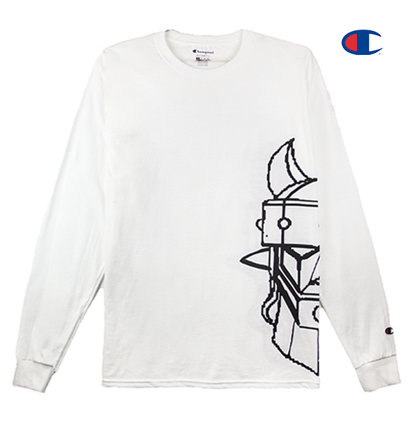 Front view of a white Champion jersey long sleeve with half of the Taekwon V head printed.
