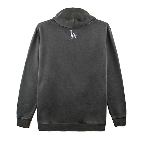 Front view of a washed black hoodie with Koreatown printed.