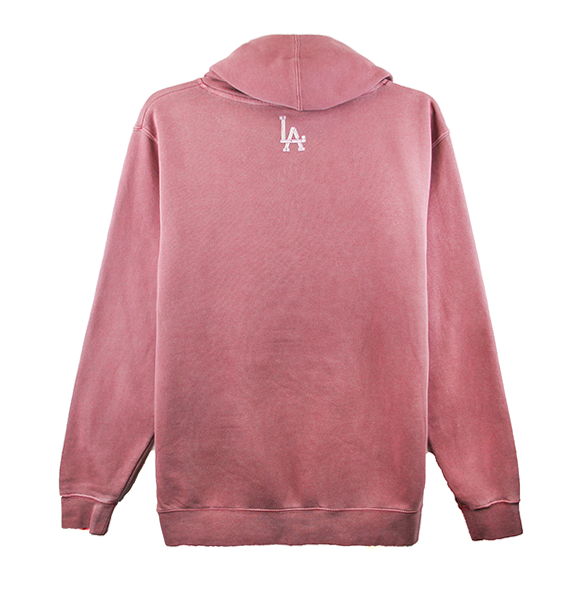 Back view of a washed maroon hoodie with our Trigram LA printed.
