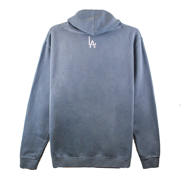 Back view of a washed slate hoodie with our Trigram LA printed.