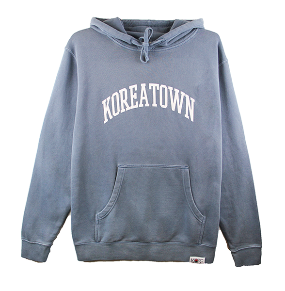 Front view of a washed slate hoodie with Koreatown printed.