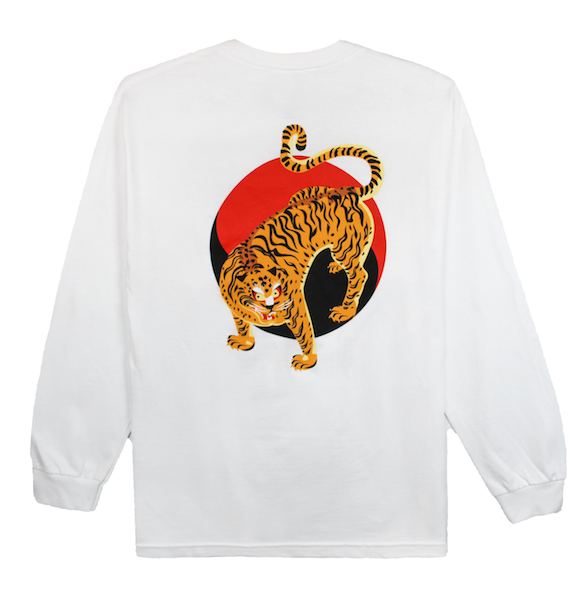 Back view of white long sleeve with an illustrated Korean tiger in front of the Korean yin and yang. KORE Limited - Keepin Our Roots Eternal