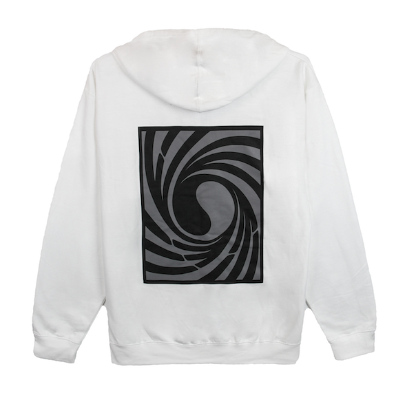 Back view of white Tornado zip up hoodie with centered twisted Korean Flag print. KORE Limited - Keepin Our Roots Eternal