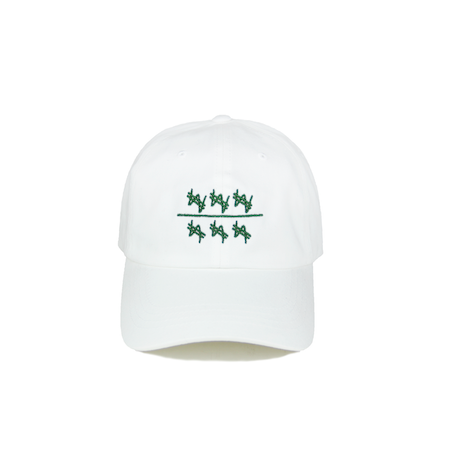 Front view of won over dollars embroidered on a white dad hat.