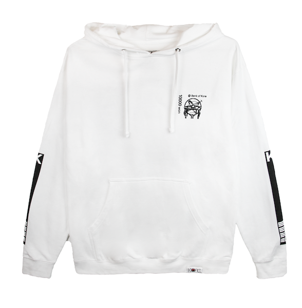 Back view of white pullover hoodie with centered black Won symbol on the Korean 10,000 won bill. KORE Limited - Keepin Our Roots Eternal