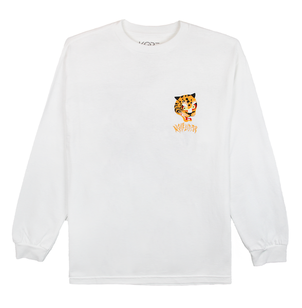 Front view of white long sleeve with a graphic illustration of the Korean tiger's head and KORELIMITED printed underneath it. KORE Limited - Keepin Our Roots Eternal
