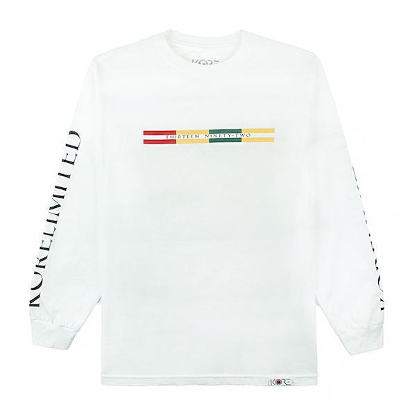 Front view of white long sleeve with Goryeo Flag colors in the front. KORE Limited - Keepin Our Roots Eternal