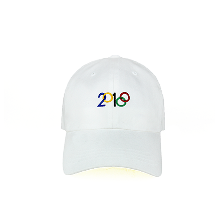 Front view of 2018 and Olympic rings embroidered on a white dad hat. KORE - Keepin Our Roots Eternal