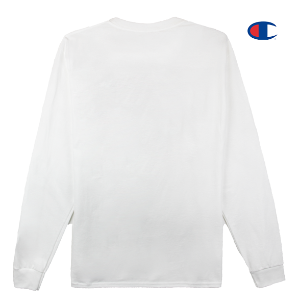 Front view image of white Champion long sleeve with Champion C logo embroidery on the sleeve and KORELIMITED's Peace screen print across the front chest. KORE - Keepin Our Roots Eternal