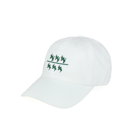 Side view of won over dollars embroidered on a white dad hat.