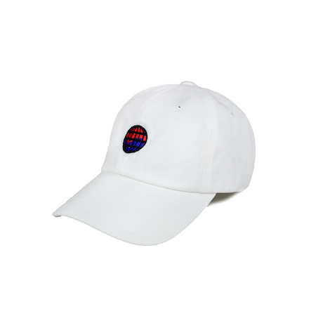 Side view of worldwide embroidered on a white dad hat.