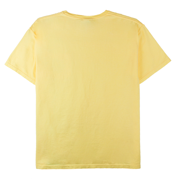 Back view of yellow ComfortWash pocket tee with cartoon character design on the chest.
