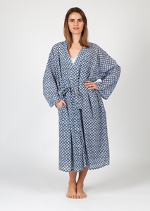 Arabella Dressing Gown Blue Floral