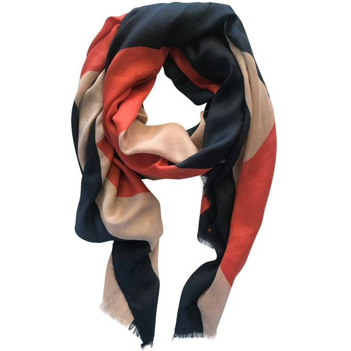 Navy, Nude & Orange Scarf