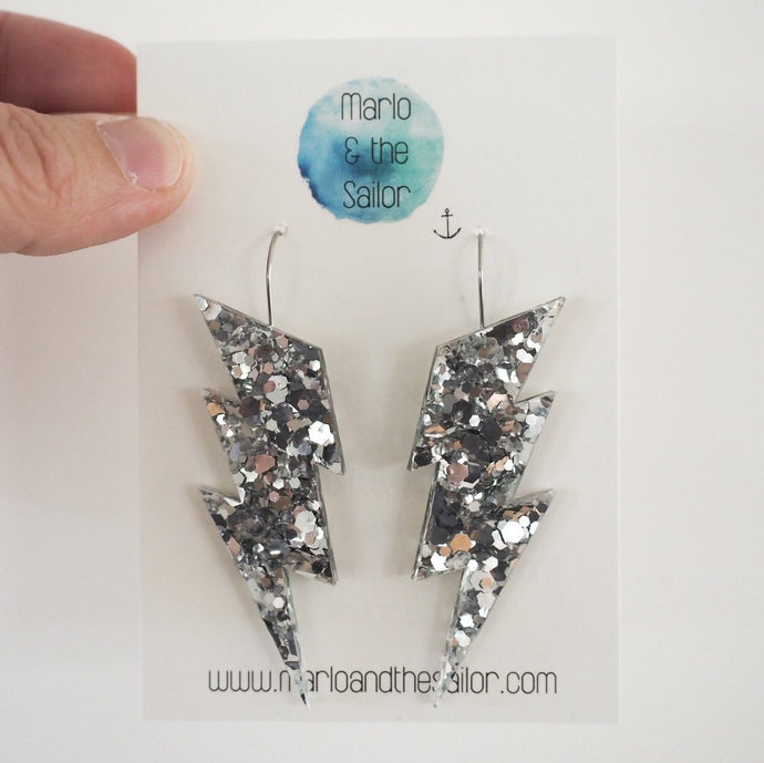 Silver Glitter Lightning Bolt Earrings