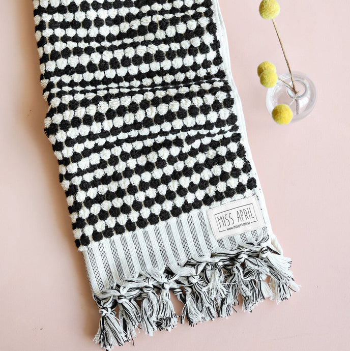 Pom Pom Black & White Hand Towel