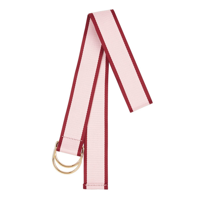 Canvas Cotton Loop Belt - Pink with Maroon Edge