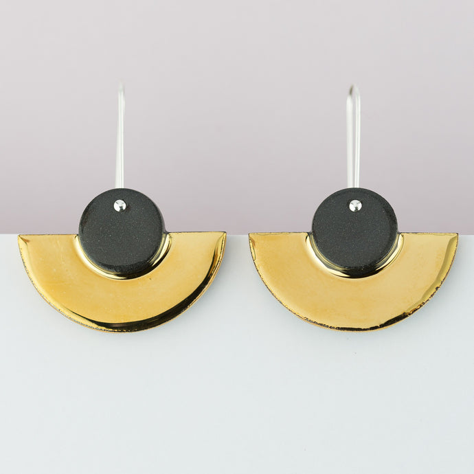 Black Crescent Earrings