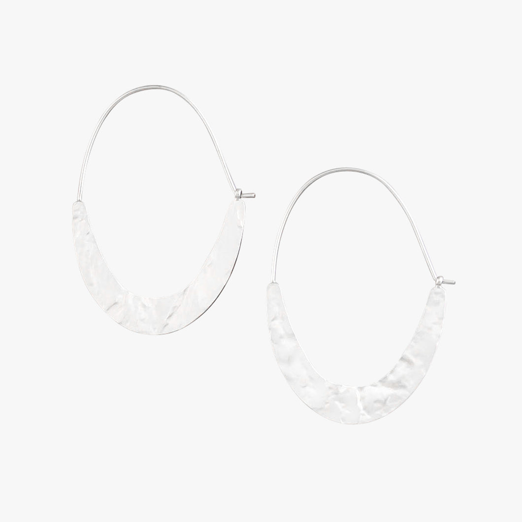 Silver Sliced Hoop Earrings