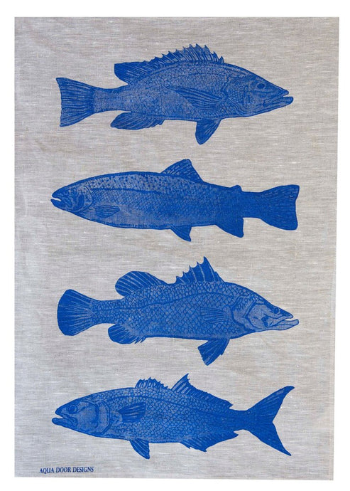 Cobalt Fish Linen Tea Towel