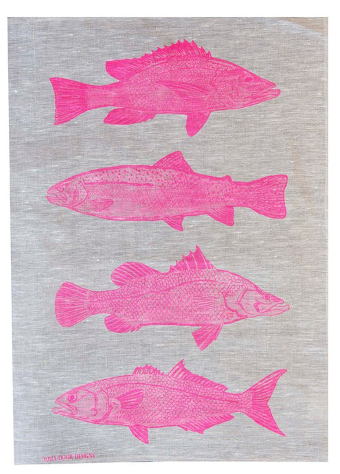 Pink Fish Linen Tea Towel