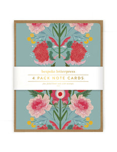 Folk 4 pk Poppies Card Set
