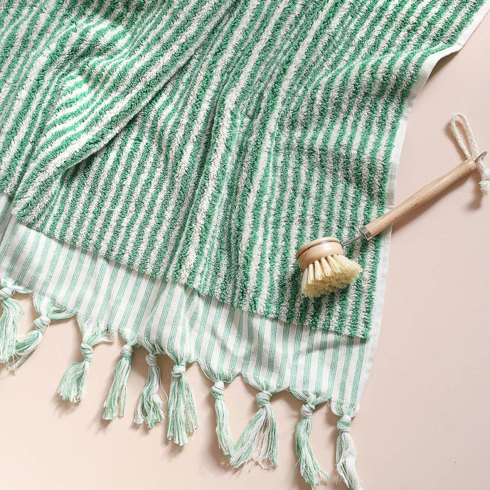 Green Stripe Hand Towel