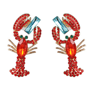 Lobster & Blue Stone Earrings