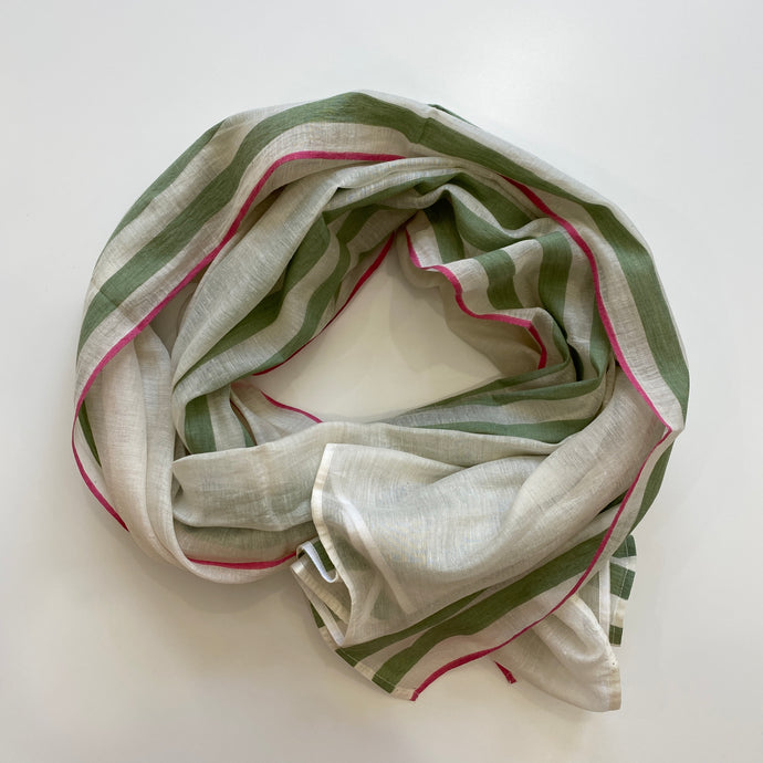 Hand-loomed Green Silk & Cotton Scarf