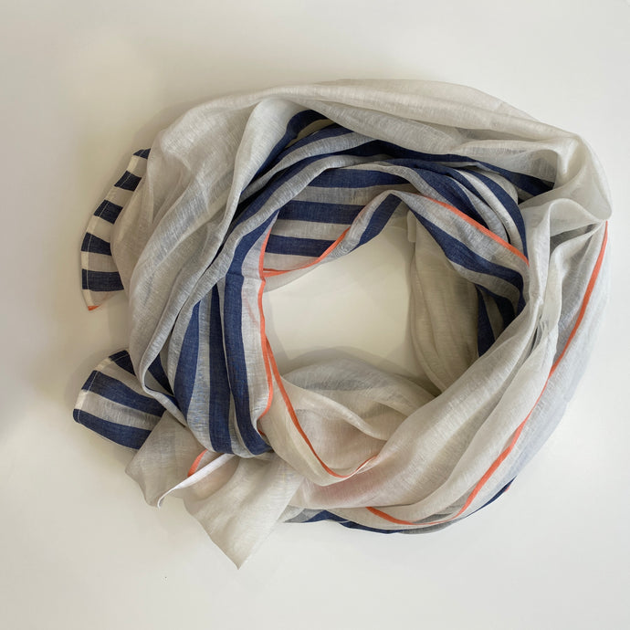 Hand-loomed Navy Silk & Cotton Scarf