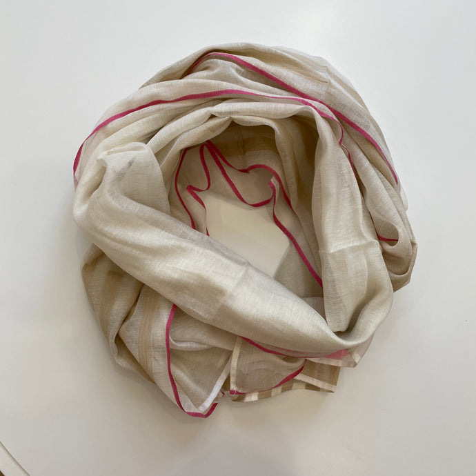 Hand-loomed Taupe Silk & Cotton Scarf