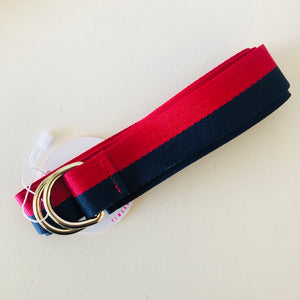 Canvas Cotton Loop Belt - Red & Navy
