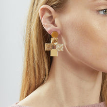 Load image into Gallery viewer, Cross Earrings - Gold
