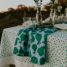 Load image into Gallery viewer, Green Pebble Linen Tablecloth
