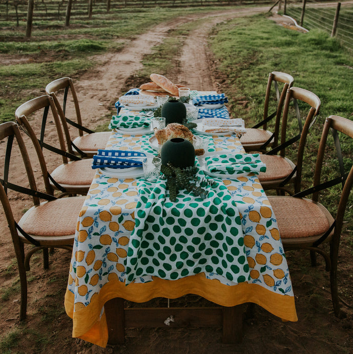 Navy Lemon Tablecloth