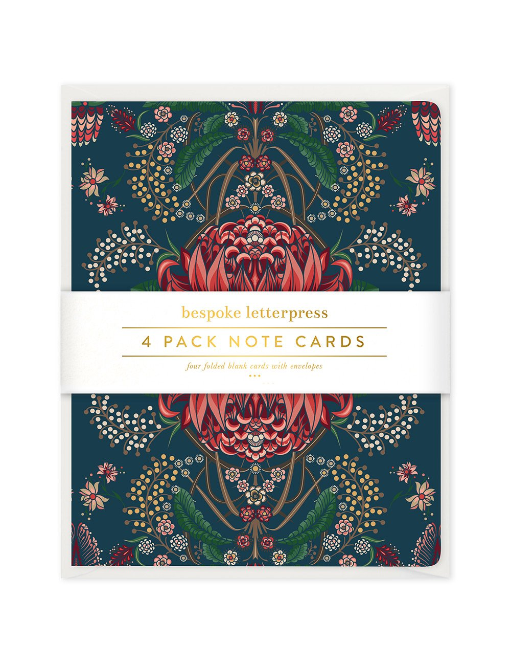 Kaleidoflora Navy 4pk Card Set